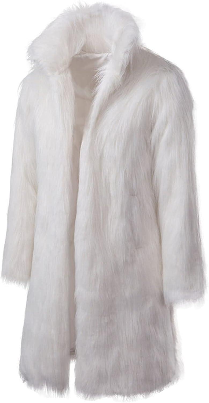 Mens Plush jacket Winter Warm Thicker Long Coat Jacket Faux Wool Outwear Cardigan