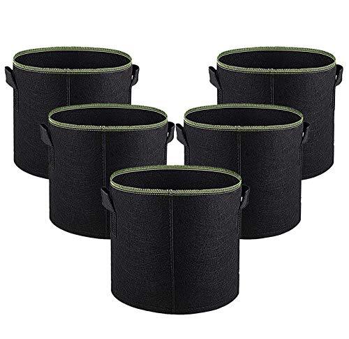 Lot de 5 pots de fleurs Uhat en tissu non tissé avec sangles de poignées pour intérieur et jardin 5 Gallons (30D*25H) Bordure verte.