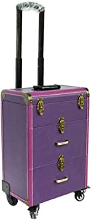 L.TSA Cosmetic Case Professional Makeup Case, Travel Beauty Trolley, Universal Wheel Lockable Scrolling,Purple