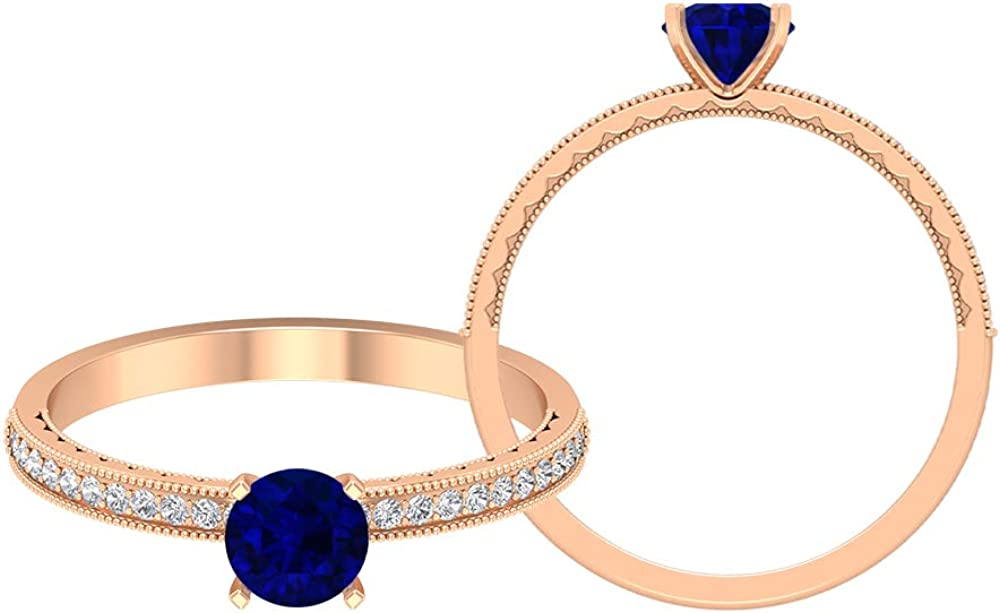 5.00 MM Lab Created Blue Sapphire Solitaire Ring, HI-SI Diamond Ring, Side Stone Engagement Ring, Gold Milgrain Ring (AAAA Quality), 14K Gold