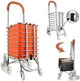 LLJPJXB Folding Shopping Cart , Stair Climber Trolley Folding Shopping Cart, Utility Stair Climbing Cart, Rolling Grocery Carts with Swivel Wheel,Aluminum Frame Versatile Trolley