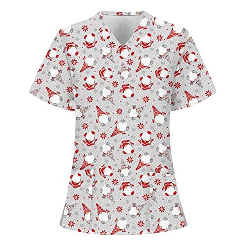 Briskorry Casaca para mujer de Navidad, tallas grandes, escote en V, con diseo de dibujos animados, ropa de trabajo, uniforme de enfermera, gris, XL