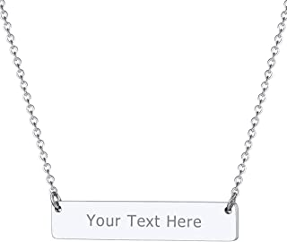PROSTEEL Stainless Steel Custom Necklace, Personalized Coordinates Name Bar Choker, Necklace for Men Women, 16''-18'' (with Gift Box)