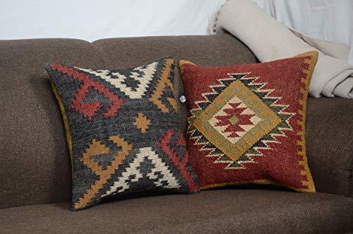 Chouhan Rugs Juego de 2 fundas de almohada vintage Kelim de 18 x 18 cm, tejidas a mano, de yute, cojín rústico