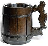 oak beer mug - Handmade Beer Mug Oak Wood Stainless Steel Cup (20 OZ). Men Eco-Friendly Souvenir Handmade Retro Brown. Vintage Bar accessories - Viking Wood Stein