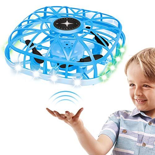 Droni per bambini e adulti, Mini drone con LED azionati a mano Illuminazione e funzioni musicali Giocattoli per ragazze 6 7 Regalo di 8-12 anni, Rosa (Blu)