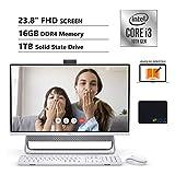 Dell Inspiron 5490 All in One Desktop 23.8 in FHD Display, Intel i3-10110U, 16GB DDR4 Memory, 1TB SSD, Online Class Ready, Wired Keyboard&Mouse, Wi-Fi, Webcam, USB-C, KKE Mousepad, Win10