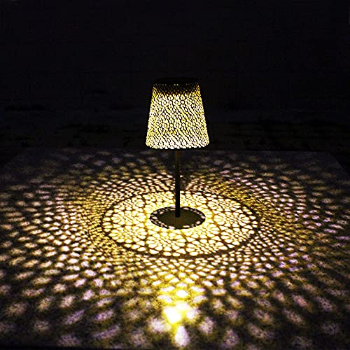 Solar Table Lantern, Solar Garden Lights Outdoor Waterproof, Metal LED Decorative Lanterns,Solar Desktop Decoration Table lamp, with Hollowed-Out Design(1 Pack)