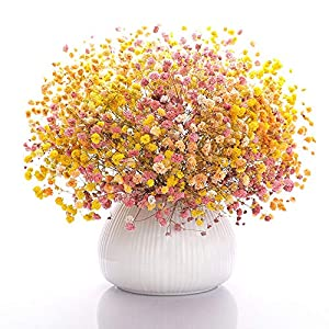 Silk Flower Arrangements FENDOUBA Baby Breath Gypsophila Artificial Flowers Bouquets Fake Real Touch Flowers for Wedding Party Decoration DIY Home Decor (Color : Yellow+Orange+Rose red)