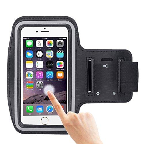 COOSA Smartphone brazal de los deportes y la titular de la clave para Apple Iphone 6 Plus y otros similares Tamaño teléfonos inteligentes, con la correa de velcro ajustable para correr, caminar, ciclismo, Una Buena Condición, etc. (Negro)