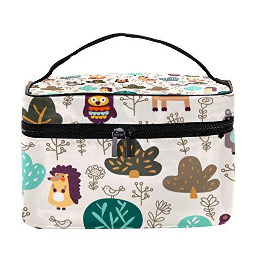 Trousse de Maquillage Voyage Maquillage Case Cosmetic Case Professional Portable Bear Deer Raccoon Fox Rabbit Owl Organisateur et Rangement pour Porte-pinceaux de Maquillage