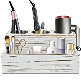 Rustic Hair Dryer Holder, Hair Tools and Styling Organizer, Bathroom Supplies Countertop Storage Stand and Vanity Caddy for Blow Dryer Curling Iron Hair Straightener Brushes Hair Styling Accessories
