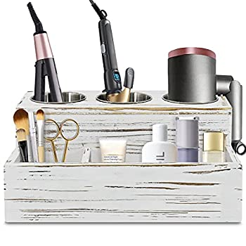 Rustic Hair Dryer Holder Hair Tools and Styling Organizer Bathroom Supplies Countertop Storage Stand and Vanity Caddy for Blow Dryer Curling Iron Hair Straightener Brushes Hair Styling Accessories