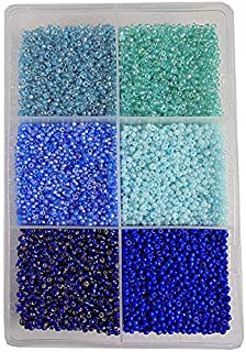 ESHOPPEE 3mm Glass Beads, Seed-Beads for Jewelry Making Art and Craft DIY Project kit (Blue,Turq Family 8/0,300 gm)
