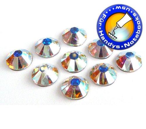 Swarovski 100 Stück Elements 2000 No Hotfix, Crystal AB, SS3 (Ø ca. 1,4 mm), Strasssteine zum Aufkleben (Nagel-Design)