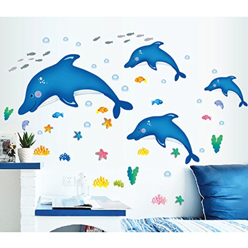 Blau Delphin (Sternbild) Ocean Wandtattoo House Aufkleber abnehmbarer Wohnzimmer Tapete Schlafzimmer Küche Art Bild Wandmalereien Sticks PVC Fenster Tür Dekoration + 3D Frosch Auto Aufkleber Geschenk