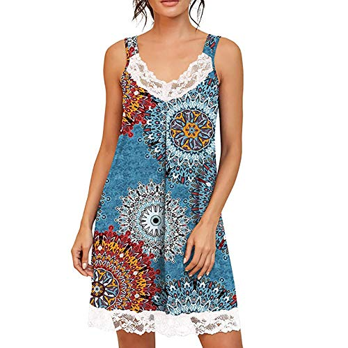 YANFANG Ropa de Dormir para Mujer, camisón de Manga Corta, camisón Suave, camisón Plisado,Blue,S