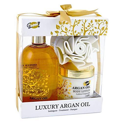 Coffret cadeau beauté pour femme incluant une éponge EVA - Collection Luxury Argan Oil - Huile d'Argan