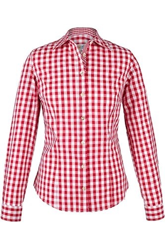 Almsach Damen Trachten-Bluse rot-weiß kariert 'Maria', rot, 38