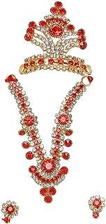 Aditri Creation Devi Maa/Radha Rani/Laddu Gopal Shringar Set Faux Diamond Mukut, Mala & Earrings Combo Deities jewellary S...