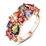 Sparkling Colors Flowerets Vine Swiss Cubic Zirconia 18K Rose Gold Plated Sparkling Ring for Women by YELLOW CHIMES … …