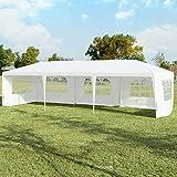 COSTWAY 3x9m Gartenpavillon Partyzelt mit 5 abnehmbaren Seitenwände, Faltpavillon Bierzelt UV Schutz, Gartenzelt faltbar, Faltzelt Pavillon