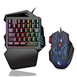 MoModer One Hand Gaming Keyboard and Mouse Combo, 35 Keys Wired Mechanical Feel Rainbow Backlit...