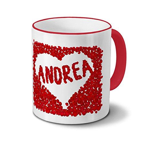 Tasse mit Namen Andrea - Motiv Blumenherz - Namenstasse, Kaffeebecher, Mug, Becher, Kaffeetasse - Farbe Rot