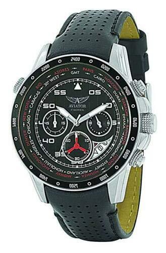 AVIATOR F-Series AVW7770G59 Chrono Pilot Reloj para Hombre, Esfera Negra, Correa de Piel