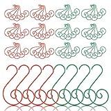 CINMOK 100pcs Ganchos Adornos Bolas Colgante Perchas Árbol de Navidad para Decorar Hogar Bolas Calcetines Campanas Caja Pequeña de Regalo Rojo Verde Metal Bombón de Jengibre Decoraciones Navideñas