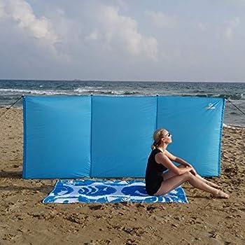 outdoorer Aeolus II Brise-vent pour plage et jardin 3 x 1,3 m avec sardines UV 60, léger, compact une fois replié