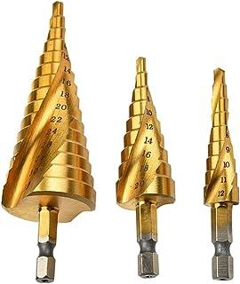 Mengshen HSS Step Drill Bit Spiral Flute 3-Piece Set 4-12mm/4-20mm/4-32mm, HSS Titanium Coated Drilling Tool Multi-Functio...