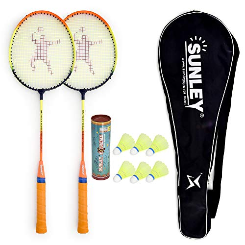 Sunley Swag Wide Body Badminton Combo Set of 2 Piece Racquet 6 Piece Plastic Shuttle with 1 Piece Attractive Cover(Iron,Multicolour)