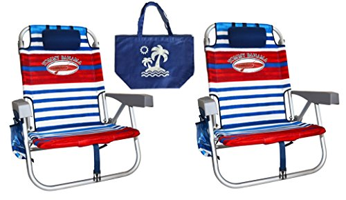 2 Tommy Bahama Backpack Beach Chairs/Red White Blue Stripes + 1 Medium Tote Bag
