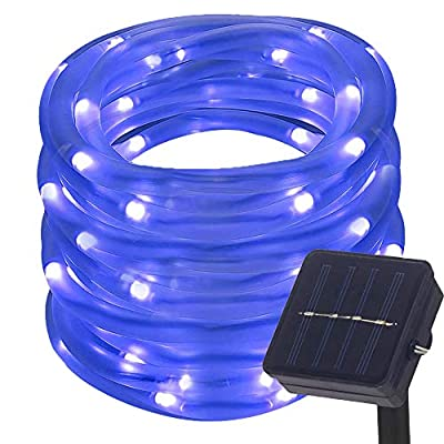 DULEE Solar Powered Outdoor Waterproof LED Rope Lights 5M 50 LED Neon Tube Strip String Fairy Lights,Blue
