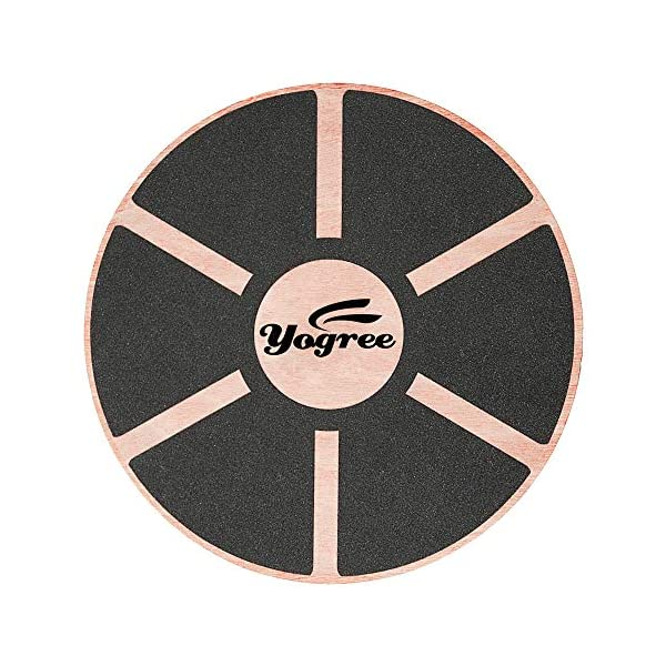 yogree 15.4″ Wooden Balance Board for Workout, Fitness, Balance Exercise & Rehabilitation, Non-Slip & Safe Pad – Agility Core Trainer Portable Wobble Board