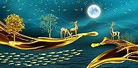 ZZFJF パズルパズル1000ピース大人の抽象的な月光海鹿風景ジグソーパズルロジックブレインティーザーおもちゃゲーム50x75cmのパズルアート