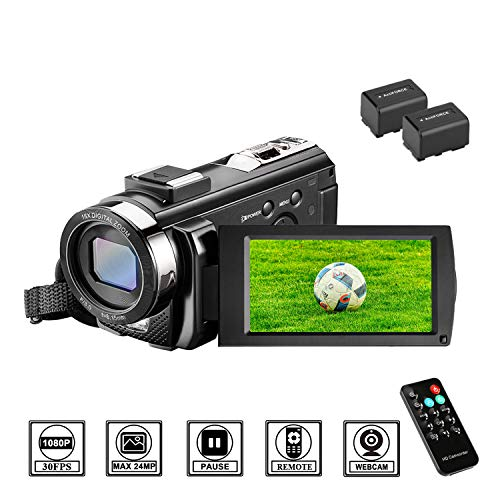 Camcorder Videokamera HD 1080P 24MP Video Camcorder, 16X Digitalzoom Kamera, 3,0 Zoll LCD Bildschirm, vlogging Kamera, Digitalkamera mit Fernbedienung, 2 Batterien