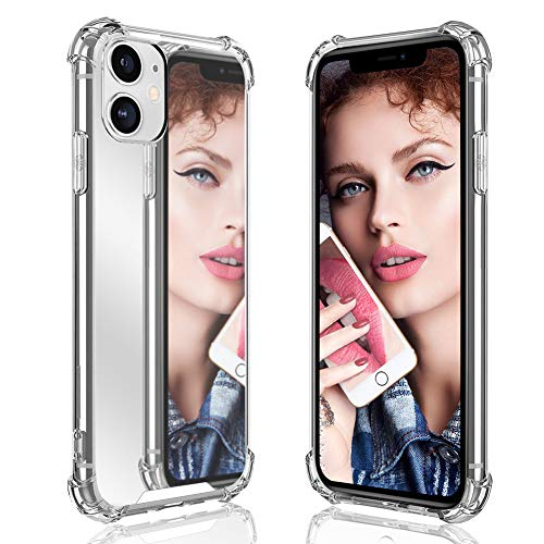 Ownest Compatible with iPhone 11 Case for Girls Women Cute Stylish with Glitter Ultra-Thin Mirror TPU PC Back Protective Silicone Slim Shockproof Case for iPhone 11(6.1 Inch)-(Silver)