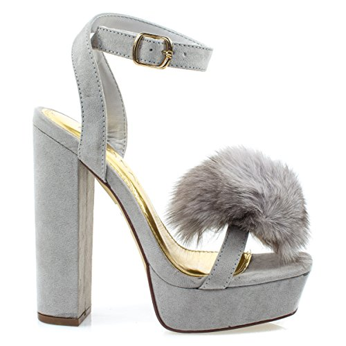 Liliana Yuko10 GraySuede Furry Super High Block Heel Platform Dress Sandal w Faux Fur Pom Pom -6.5