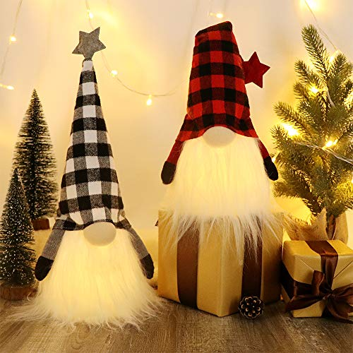HAUMENLY Swedish Christmas Gnome Lights, Scandinavian Tomte 6 Hours Timer, Home Party Decoration (A) - 18.5x4.8 Inches,Pack of 2
