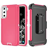 Szfirstey Case with Belt-Clip Holster for Galaxy S20 FE , Drop Full Body Rugged Shock Dust Proof 3-Layer Military Protective Tough Durable Phone Cover Heavy Duty for Galaxy S20 FE (Hot Pink/White)