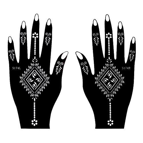 Set de 2 Sheet mehndī Tattoo Pochoir strass pour les mains S174