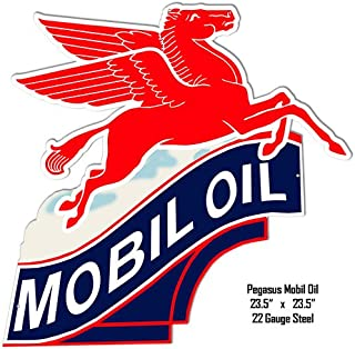 Garage Art Signs Mobil Oil Laser Cut Out Reproduction Metal Sign 23.5x23.5