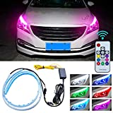 Flexible Multicolor Car Led Light Strip, 2 Pcs 24 In Daytime Running Lights LED RGB Kit Waterproof, for Car Replacement Switchback Headlight Strip Lights Decorative Lamp and Turn Signal Tube Lights