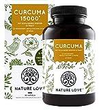 Curcuma Extrakt - Curcumin Gehalt EINER Kapsel entspricht dem von ca. 15.000mg Kurkuma - Hochdosiert mit 95% Extrakt - Jede Charge laborgeprüft, vegan, hergestellt in Deutschland