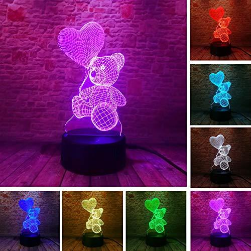 DKIPN Karikatur Kleiner Bärenballon 3D Illusion Lampe Geburtstag Weihnachtsgeschenk Led Nachtlicht Schlafzimmer Tischlampe Für Kinder, 16 Farben Ändern Touch Control Usb Nachttischlampe Dekoration Lam