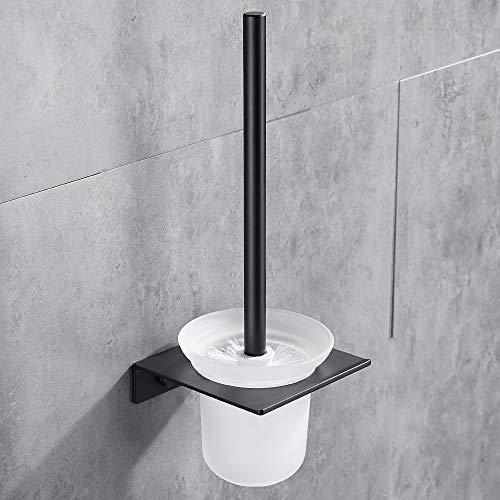 Hoomtaook Scopino per WC Supporto Spazzolone a Parete in Alluminio e Installazione di Colla Senza Danneggiata Vetro e Una Spazzola Extra Nero