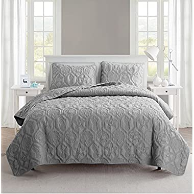 Queen Size Quilt Set in Grey Charming Beach Beautiful Blanket 3 Pc Set w/ Quilt, 2 Shams