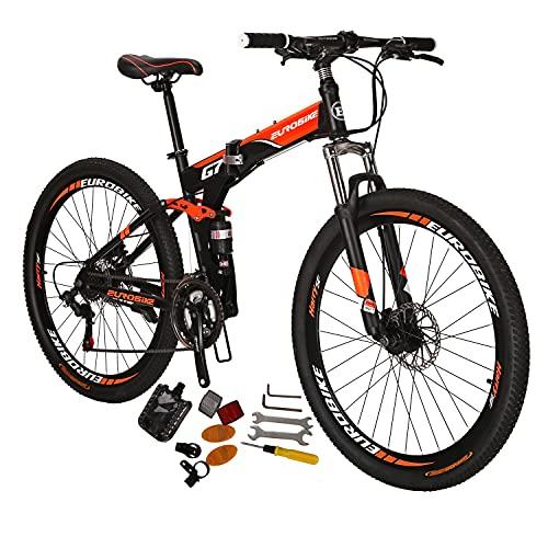 Eurobike Mountain Bike EURG7 21 Speed 27.5 Inches Spoke Wheel Dual Suspension Folding Bike Disc Brake Bicycle Black-Orange